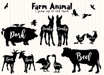Vector Farm Animals Silhouettes Isolated ,Farm animals with text.