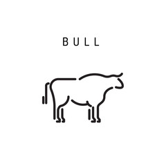 Vector of bull design outline on white background. Farm Animals, Vector illustration.
