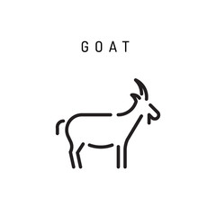 Goat web line icon vector isolated on white background