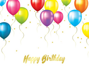 A birthday card with colorful balloons, sparkles and confetti. Vector illustration for a postcard, poster or banner.