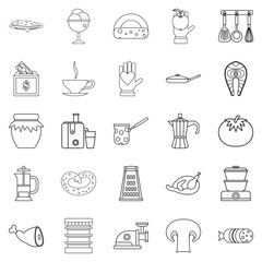 Jam icons set, outline style