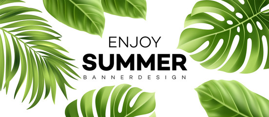 Summer sale banner with tropical plant. Vector illustration