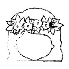 monochrome blurred silhouette of caricature faceless woman with wavy short hairstyle and crown decorate with flowers