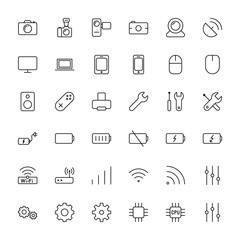 electronic device icons set on white background