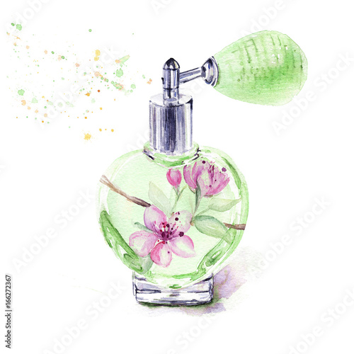 Perfume bottle with spring flowers isolated on white background perfume bottle with spring flowers isolated on white background watercolor illustration mightylinksfo Gallery