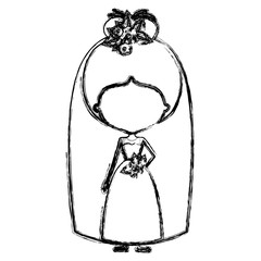 monochrome blurred silhouette of caricature faceless woman in wedding dress with bun collected hairstyle