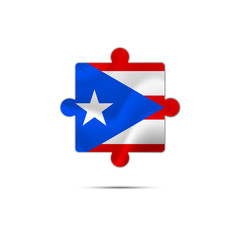 Isolated piece of puzzle with the Puerto Rico flag. Vector illustration.