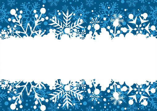 Christmas blue background with white frame