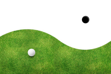 White golf ball on green grass and white background
