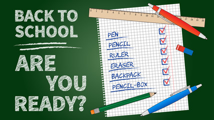 Back to school vector illustration. Line art banner Back to school with list of stationery elements (pencil, pen, ruler, staple). Dark green chalk board template graphic design.