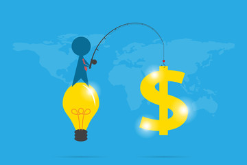 businessman use fishing rod to get dollar symbol, idea and business concept
