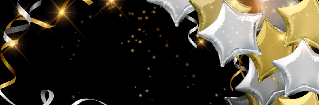 Silver and gold star shaped balloons. Vector illustration.Wallpaper.flyers, invitation, posters, brochure, banners