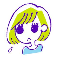 ためらう女の子のイラスト