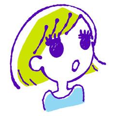 ななめ上を見上げる女の子のイラスト