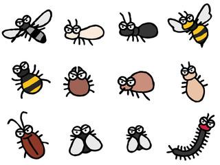 害虫 デフォルメ 蚊 他 怒る