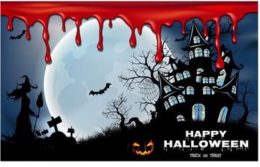Halloween night background with creepy castle and pumpkins, illustration