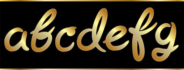 Golden alphabet hand drawn