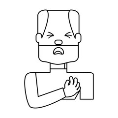 Man with heart attack face cartoon