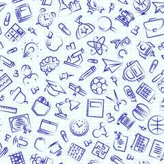 Seamless education and school pattern with hand drawn thin line icons school supplies on checkered background. Vector Illustration