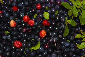 Background of blueberries and strawberries/