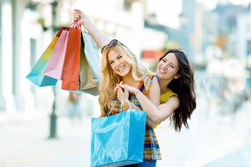 Beautiful Young Woman Having Fun in Shopping