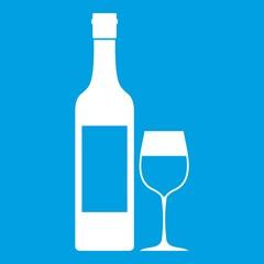 Bottle of wine icon white