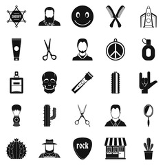 Different hairstyles icons set, simple style