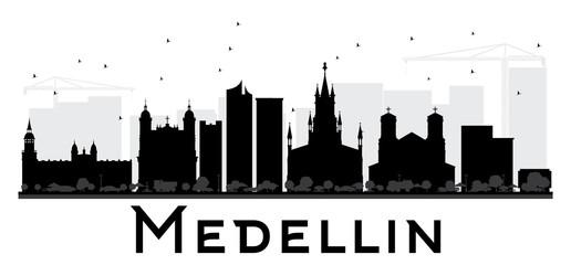 Medellin City skyline black and white silhouette.