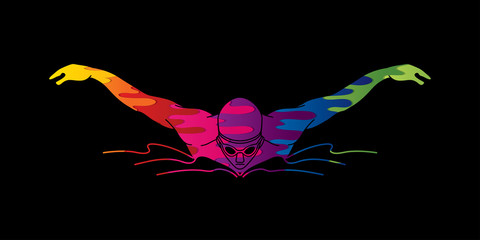 Swimming butterfly, man swimming designed using melting colors graphic vector