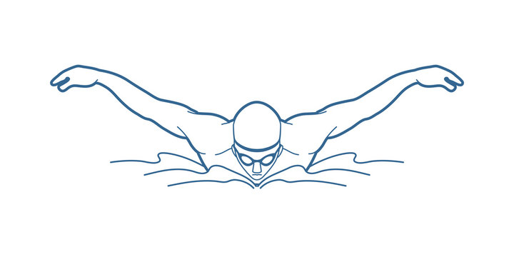Swimming butterfly, man swimming outline graphic vector