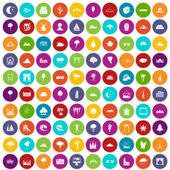 100 view icons set color
