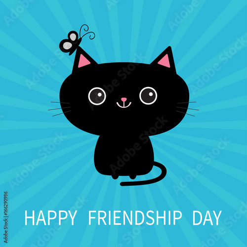 Beautiful Happy Friendship Day. Black Cat Silhouette And Butterfly Insect. Dash Line  Friends Forever.
