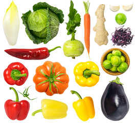 Vegetables Isolated on White Background Set 4