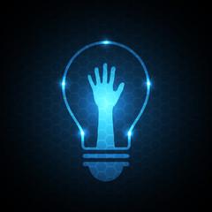 technology future hand raise light bulb