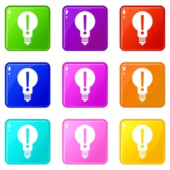 Bulb with exclamation mark inside set 9