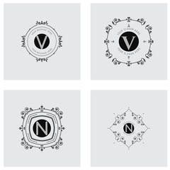 The letters N, M,. Flourishes calligraphic monogram emblem template.