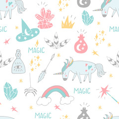 Cute hand drawn cartoon seamless pattern with unicorns, crystals and other magic elements. Vector background