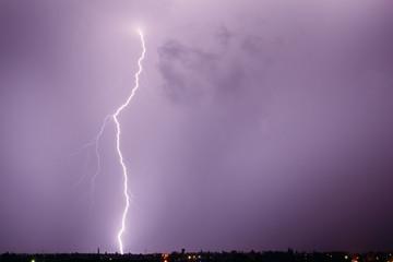 Lightning bolt in a stormy sky