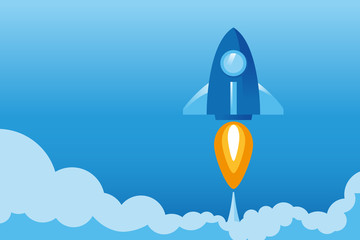 Rocket launch in flat graphic style for business concept