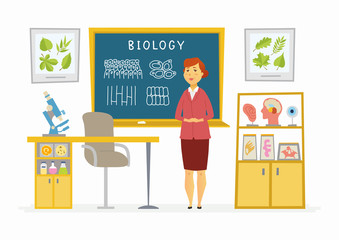 Biology Classroom - female teacher composition at the blackboard