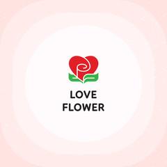 Vector Love Flower Heart Logo