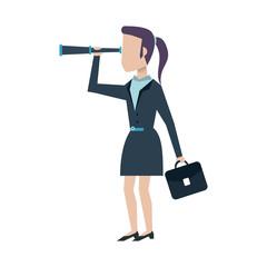 business woman looking through telescope avatar icon image vector illustration design