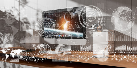 Workplace with modern devices and hologram screens 3D rendering