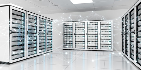 Abstract network on server room data center 3D rendering
