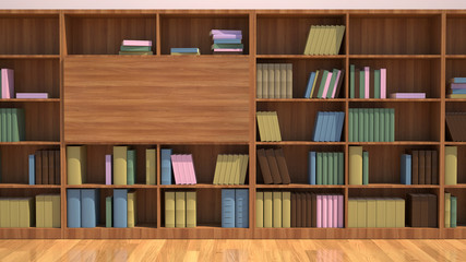 Bookshelf with books. Education library book store concept.
