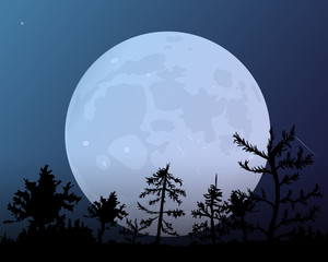 The forest on the background of the moon. Dark blue night sky.