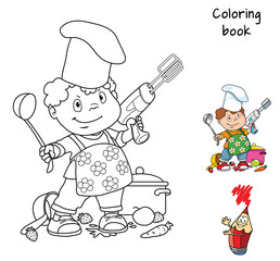 Little boy with a spoon and a mixer plays the chef. Coloring book. Cartoon vector illustration