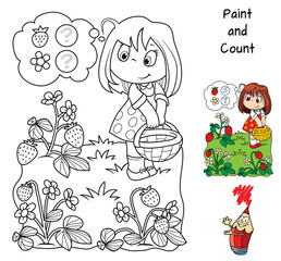 How many flowers and how many strawberry berries the girl found on the meadow? Education counting game for children. Coloring book. Cartoon vector illustration