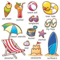Vector illustration of Cartoon Summer Vacation vocabulary