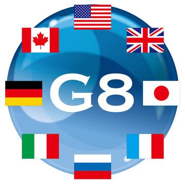 主要国首脳会議G8の国旗|Leaders from developed countries